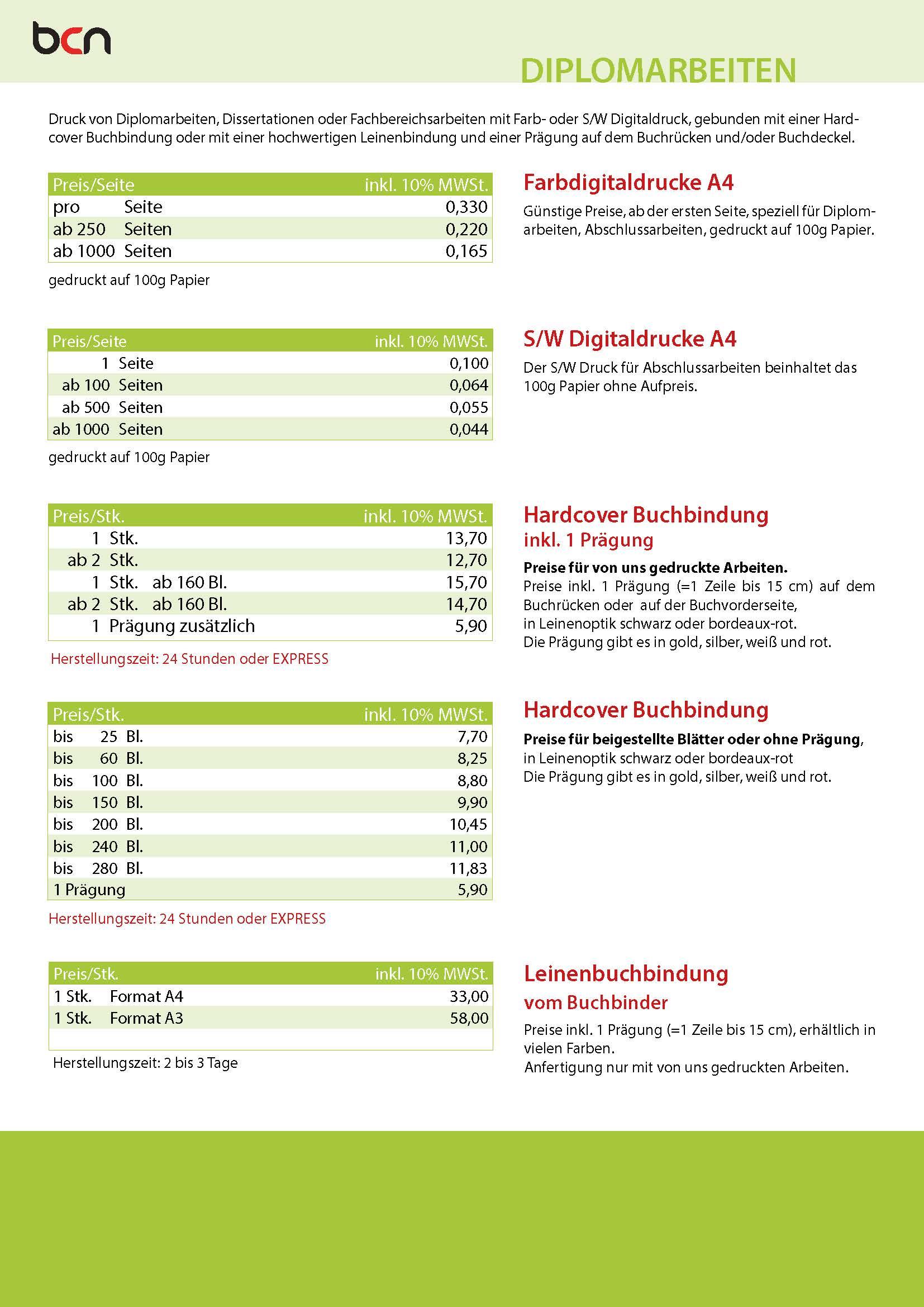 BCN - Preisliste Abschlussarbeiten